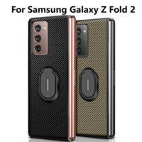 Lüks Karbon Fiber Kılıf Samsung Galaxy Z Katlama 2 Deri Standı Samsung Fold2 5g Telefon Kılıfları Için Darbeye Dayanıklı Arka Kapak