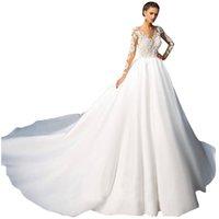 Elegant A Line Wedding Dresses V-neck full-Sleeve race applique Wedding Gown backless sweep train Vestidos De Novia
