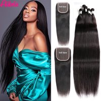 Human Hair Bulks Alibele 5x5 HD Lace Closure With Bundles Brazilian Straight Remy Long With4x4 LaceClosure