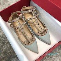 Designer rock studs mulheres vestido sapatos gladiador sandálias rebites rebites dedo dedo Ballerinas Flats Lady Ballet Luxuoso
