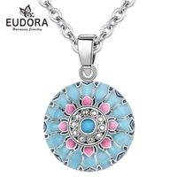 Eudora Blue Pink Lotus Harmony Ball Necklace Music Mexican for Baby Mom Maternity Jewelry Spiritual Yoga Elegant Pendant 210621