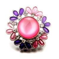 Cuentas de cristal 18mm Metal Flower Snap Button DIY Joyería que hace ajuste para la pulsera y el collar