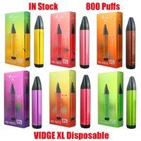 Original VIDGE XL Disposable Pod Device Kit E-cigarettes 800 Puffs 500mAh Battery 3ml Prefilled Pods Cartridges Vape Stick Pen Vs Puff Bar Plus Bang XXL 100% Authentic