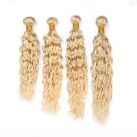 말레이시아 표백제 금발 인간의 머리 위사 확장 젖은과 물결 모양의 4pcs 많이 # 613 금발 버진 레미 인간의 머리카락 묶음 물결 짜기
