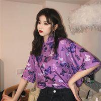 Kadınlar Için Deeptown Vintage Bluz Harajuku Steampunk Gömlek Kısa Kollu Mor Tops Yaz Bayanlar Baskı Button Up Gömlek Kadın Bluzlar