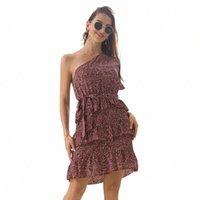 Sommer Kurzarm Boho Kleid Feste Gerüste Eine Schulter Weibliche Minikleid Polka Dot Casual Rüsche J1xd #