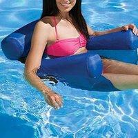 Dobrável duplo propósito aquático cadeira inflável flutua tubos tubos lazer tempo encostar hammock cama polia água flutuante jangada 20lz t2