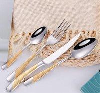 4 pçs / set Cutlery Set 304 Aço Inoxidável Aço Inoxidável Faca De Forquilha De Forquilha Colher Jantar Conjunto de Cozinha Louça de Cozinha Alta Qualidade HWB6788
