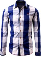 Camisetas American Wowhomme Hombre Camisa a cuadros Casual Manga larga C115