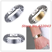 """8.66"""" *18MM Fashion Silver Color Double Cuban Chain Gold ID Bracelet Stainless Steel For Mens Womens Jewelry Link,"""