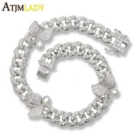 Hip Hop Rock Iced Out Bling Cz Cubic Zircon Women Jewelry Miami Cuban Link Chain Pink Butterfly Bracelet Custom Color Link,