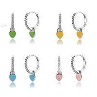 Heart Charm Hoop Earrings Fashion Women Luxury Round Circle Jewelry Studs 925 Sterling Silver Ear Buckle Crystal Rhinestone Huggie OWA8541