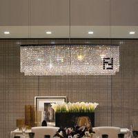 Yemek Odası 100% K9 Kristal Işık Siyah F Dikdörtgen Avize Aydınlatma Cilalar Candelabro Curve El Villa Modern AC Avizeler