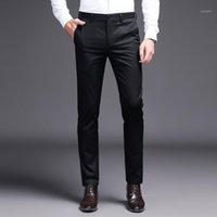 2020 남자 드레스 바지 카키 정장 바지 패션 브랜드 블랙 비즈니스 바지 남성 솔리드 컬러 스키니 팬츠에 대한 스트레이트 작업