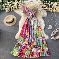Casual Dresses Bohemian Long Dress Women Tie Dye Printed Vestido Sexy 2021 Female V-Neck Short Sleeve High Waist Vacation Beach Ruffle Robes