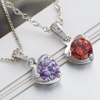 Sterling Silber Halskette Lila Kristall Zirkon Anhänger 18inches 925 Box Kette Clawicle Hochzeit Geschenk