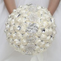 Decorative Flowers & Wreaths 30cm Big Wedding Bouquets 6 Style Beautiful Bridal Brooch Diamond Bouquet Holding Artificial Satin Party Decora