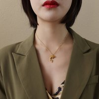 P106 Small Dolphin Gold Silver Titanium Chains Necklaces For Luxury Women Engagement Party Gift Jewelry Pendants