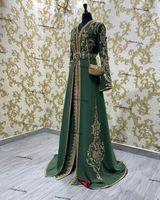 Moroccan Kaftan Caftan Muslim Evening Dresses hunter green V-neck Long Sleeves Appliques Dubai Arabic Turkey Abaya Islamic prom Gown