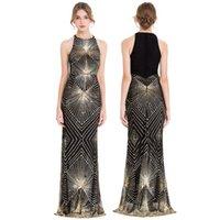 천사 패션 여성의 골드 스팽글 아트 데코 칼럼 스파클 긴 이브닝 드레스 댄스 파티 가운 파티 드레스 402