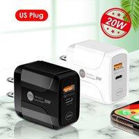 Tipo-C 20W PD e QC 3.0 Portas Duplas USB PD20Wfast Wall Carregador com US EU UK Plug para iPhone 12 11 Pro Max Ipad Xiaomin Huawei Telefone Celular