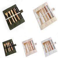 Деревянная посуда набор бамбуковая чайная ложка вилки суп нож для кухни столовые приборы наборы с тканью сумка кухонные приготовления инструменты утварь Rra4445