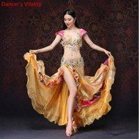 Donne Dancewear Belly Dance Vestiti da ballo Oriental Dance Abiti da ballo Bra cintura Belly Gonna in rilievo Golden Costume R2ih #