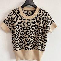 2021 Women S Sweaters Luxury Casual Knit Leopard Short Sleeve Pullover Summer Fashion Wear Classic Lady Tops Knitwear Ladies Sweater