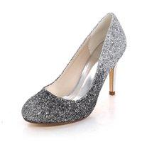 Wysokie obcasy Cekiny Buty Ślubne Kobiety Gradient Kolor Bling Glittery Round Toe Heeled Prom Evening Bridal Damskie Pompy 210626