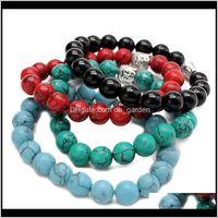 Strands perles EST Mode 10mm Tiger Eye Perles Bouddha Hommes Bracelets Prière Chakra Curiing Méditation Turquoise Natuarl Stone Yoga Wom DLVRX