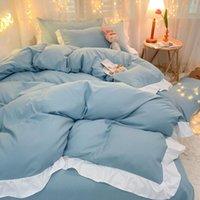 Colore solido in stile giapponese Quattro pezzo 100% cotone trapunta Set Set di copertura del foglio dei ruffli Biancheria da letto Letto Queen Set da letto queen