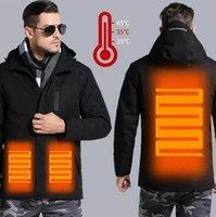 Outdoor T-Shirts Men Women Winter USB Charging Heating Jacket Waterproof Ski Top Coat 3 Adjustable Temperature Levels Abdomen Back Suit