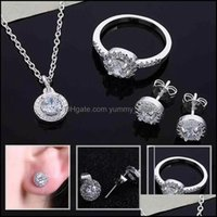 Earrings Jewelryearrings & Necklace Women Shiny Crystal Cz Earring Ring Bridal Jewelry Sets For Wedding Fashion 3Pcs Set Drop Delivery 2021