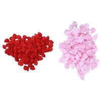أكاليل الزهور الزخرفية 200 قطع جودة عالية 6 سنتيمتر رغوة روز رؤساء زخرفة الزفاف الاصطناعي الزفاف (أحمر وردي)
