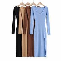 Повседневные платья тангада мода женщин сплошные элегантные V-шеи свитер платье с длинным рукавом дамы сторона открытый MIDI 4P20