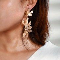 Vintage Metal Flowers Dangle Earrings for Women Bohemian Fringed Drop Earring Gold Women Fashion Jewellery