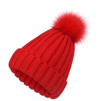 pom beanie men Thick knitted woolen hat with flanging solid color monochrome wild warmth lovers