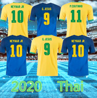 20 21 كرة القدم جيرسي نيمار JR Coutinho Paulinho Marcelo G.Jesus 2020 2021 Brasil Costa Home Away Man + Kids Kit Football Shirts
