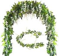 Fleurs décoratives Couronnes Simulation artificielle Silk Silk Wisteria Ivy Guand Verrière Feuille Verre Suspendre pour Jardin Birthdans Anniversaires Partie Déco
