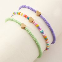 Fashion anklets elastic multi-layer colorful mixed color rice bead heart love anklet