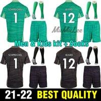 الرجال Kids Kit + Socks 2021 Leicester GK Soccer Jersey Schmeichel Ward 2022 Vardy Ndidi Maddison حارس مرمى Tielemans رمادي بارنز لكرة القدم قميص
