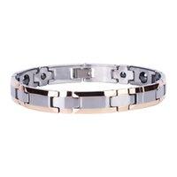 Casais pulseira design de luxo tungstênio aço magnético de pedra link pulseiras para melhor presente