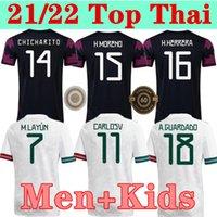 Version des fans Version du joueur Mexique Jerseys de football Copa America Camisetas 20 21 Chicharito Lozano Dos Santos Moreno Alvarez Guardado 2021 Chemises de football Hommes + Kit Ensembles Kit