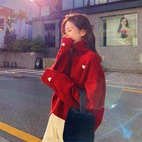 Women's Sweaters Beautiful Red Sweater Women Long Sleeve Chic Soft Female Pull Femme Fashion Jumpers Tops Black Sweety Heart