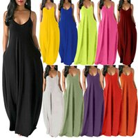 New Womens Summer Dress Dress Designer Fashion Solid Color Sexy Deep V Rostenibile Dresssleewless Sling Slippia Piano Gonna 9267