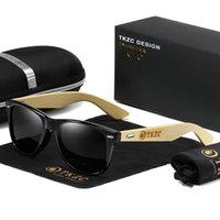 Óculos de sol Madeira de bambu polarizada para homens e mulheres lentes pretas quadro de madeira real 100% UVA / UVB Ray Protection YJ1