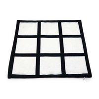 9 Grid Blank Heat Transfer Pillow Case 40*40cm Black Grid Heat Transfer Cushion Cover Home Sofa Pillow Case 60 Cross-border Supply