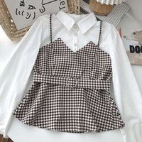 Autumn Retro Blouse Female Color Matching Houndstooth Stitching Lapel Single-breasted Blusa Waist Shirt Kk1001