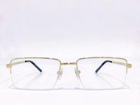 Половина ректирующих прямоугольных очков 0087 Желтая золотая рамка Очистить линзы мужчины моды солнцезащитные очки кадры с коробкой