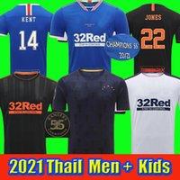 2021 Glasgow Rangers Haus Dritter Auswärts Champions 55 Fussball Trikots Defoe Hagi Morelos Tavernier 20 21 Football Hemden Männer + Kinder Kit